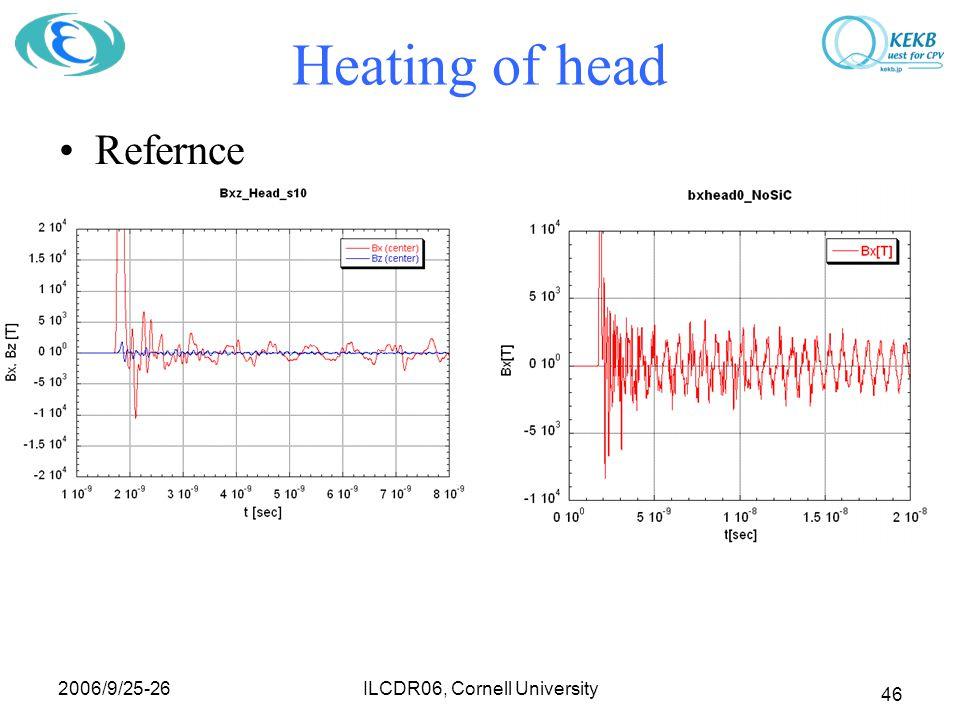 2006/9/25-26 ILCDR06, Cornell University 46 Heating of head Refernce