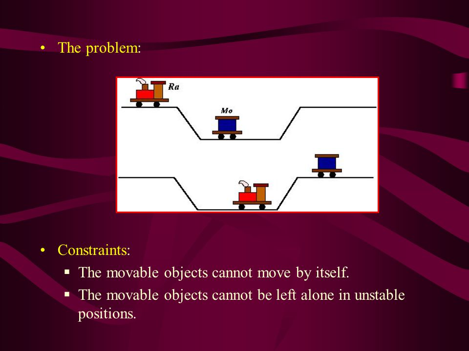 Constraints:  The movable objects cannot move by itself.