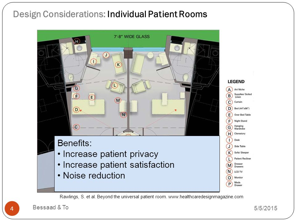 Design Considerations: Individual Patient Rooms 5/5/2015 Bessaad & To 4 Benefits: Increase patient privacy Increase patient satisfaction Noise reduction Rawlings, S.