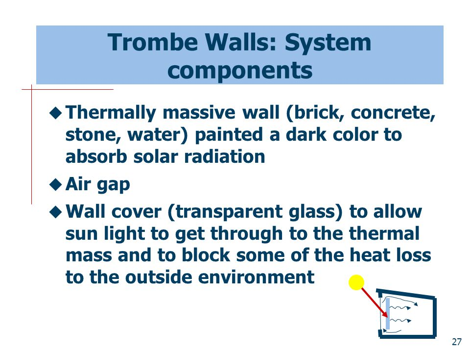 27 Trombe Walls: System components  Thermally massive wall (brick, concrete, stone, water) painted a dark color to absorb solar radiation  Air gap 