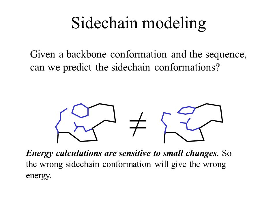 Sidechain modeling Given a backbone conformation and the sequence, can we predict the sidechain conformations.