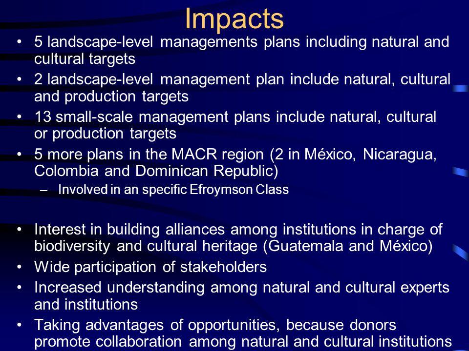 Impacts 5 landscape-level managements plans including natural and cultural targets 2 landscape-level management plan include natural, cultural and pro