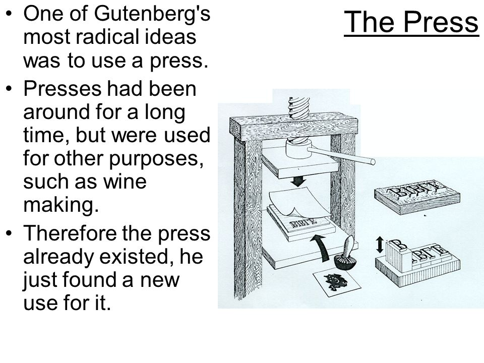 The Press One of Gutenberg's most radical ideas was to use a press. Presses had been around for a long time, but were used for other purposes, such as