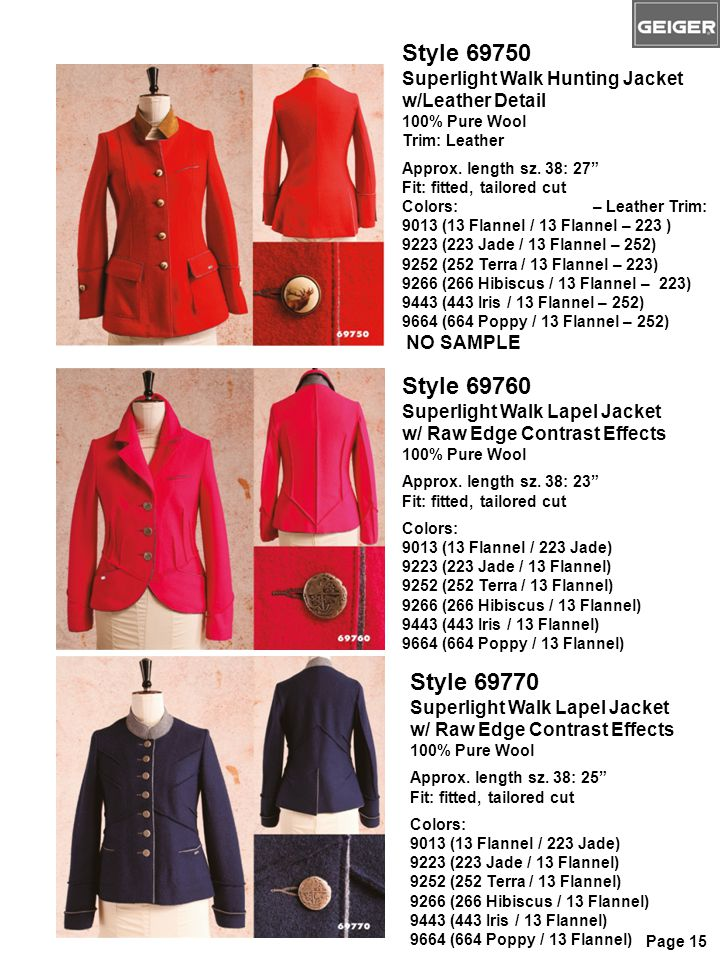 Style 69750 Superlight Walk Hunting Jacket w/Leather Detail 100% Pure Wool Trim: Leather Approx.