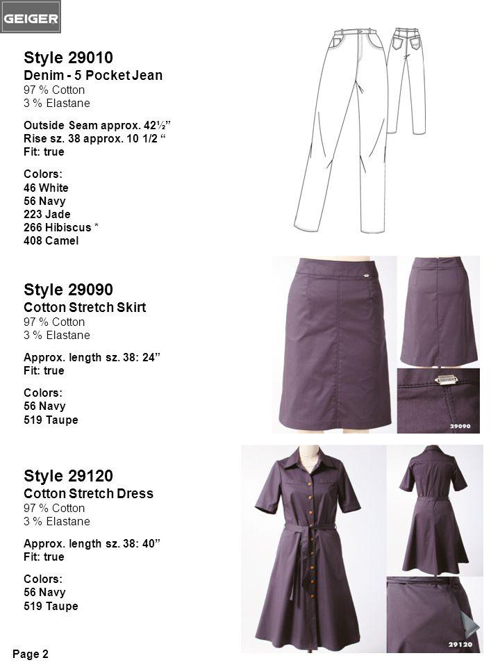 Style 29010 Denim - 5 Pocket Jean 97 % Cotton 3 % Elastane Outside Seam approx.