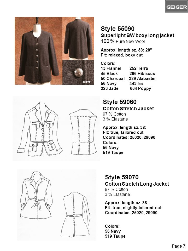 "Style 55090 Superlight BW boxy long jacket 100 % Pure New Wool Approx. length sz. 38: 28"" Fit: relaxed, boxy cut Colors: 13 Flannel 252 Terra 45 Black"