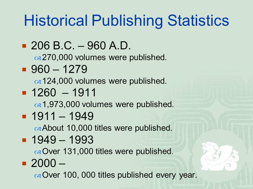 Historical Publishing Statistics  206 B.C. – 960 A.D.  270,000 volumes were published.  960 – 1279  124,000 volumes were published.  1260 – 1911