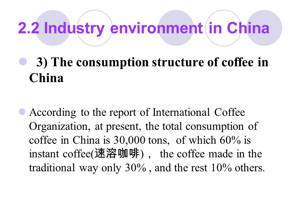 2.2 Industry environment in China 4) the feature and the risk of coffee industry in China Coffee industry in China has a great potential to develop and it is attractive.