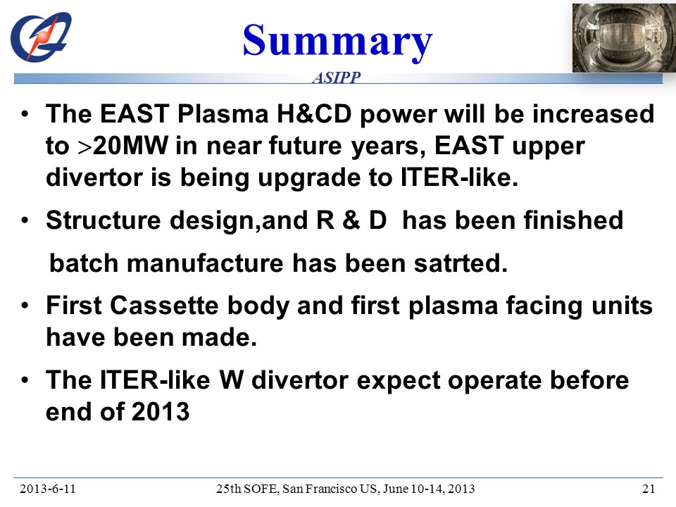 HT-7/ EAST ASIPP Summary The EAST Plasma H&CD power will be increased to  20MW in near future years, EAST upper divertor is being upgrade to ITER-like.
