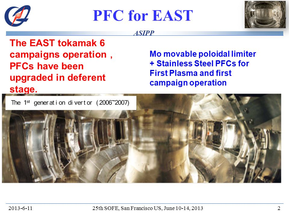 HT-7/ EAST ASIPP PFC for EAST 2013-6-11225th SOFE, San Francisco US, June 10-14, 2013 The EAST tokamak 6 campaigns operation , PFCs have been upgraded in deferent stage.
