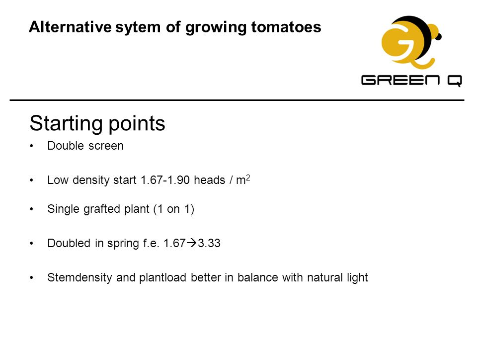 Alternative sytem of growing tomatoes Starting points Double screen Low density start 1.67-1.90 heads / m 2 Single grafted plant (1 on 1) Doubled in s