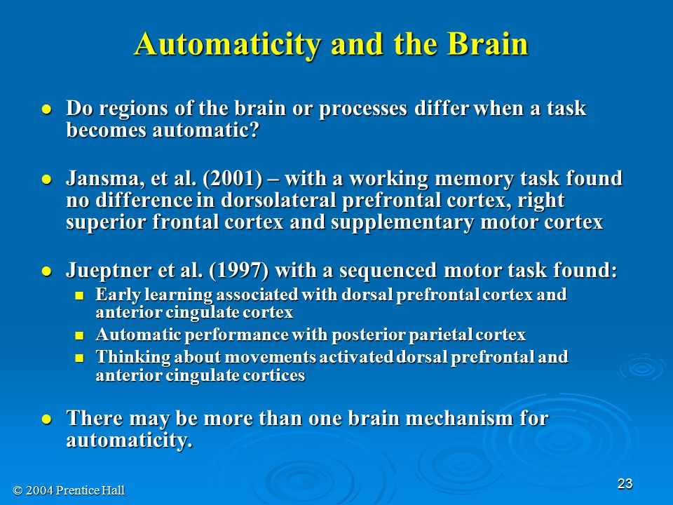 © 2004 Prentice Hall 23 Do regions of the brain or processes differ when a task becomes automatic.