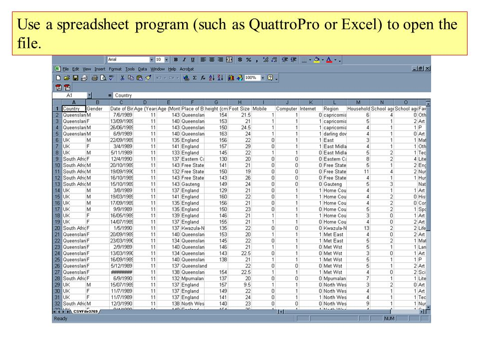 Use a spreadsheet program (such as QuattroPro or Excel) to open the file.