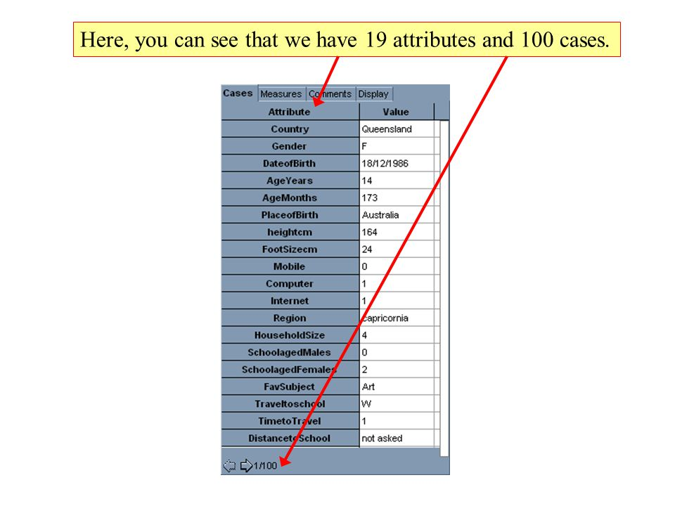 Here, you can see that we have 19 attributes and 100 cases.