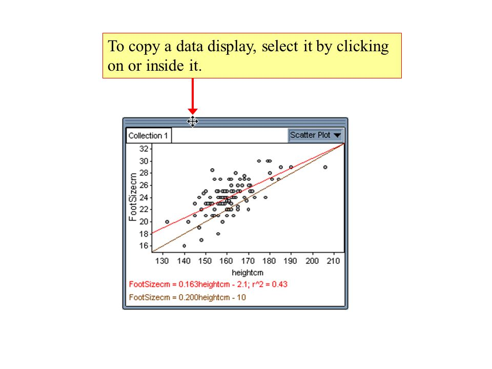 To copy a data display, select it by clicking on or inside it.