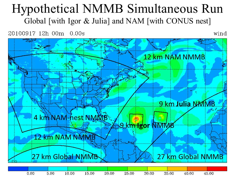 Hypothetical NMMB Simultaneous Run Global [with Igor & Julia] and NAM [with CONUS nest] 27 km Global NMMB 12 km NAM NMMB 4 km NAM-nest NMMB 9 km Igor NMMB 9 km Julia NMMB