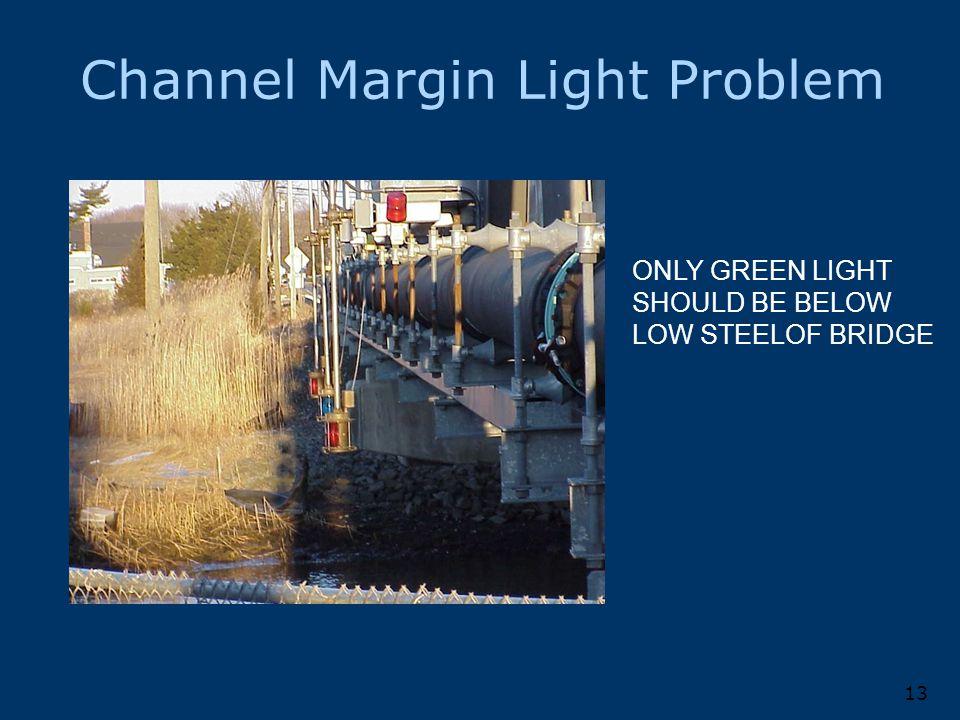 Channel Margin Light Problem 13 ONLY GREEN LIGHT SHOULD BE BELOW LOW STEELOF BRIDGE