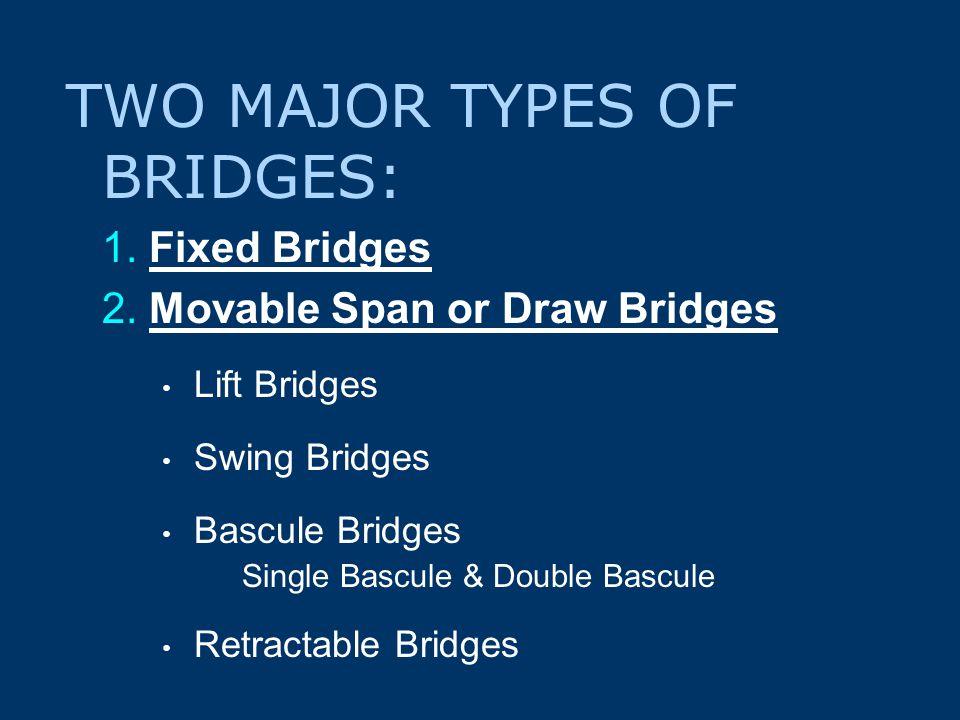 TWO MAJOR TYPES OF BRIDGES: 1. Fixed Bridges 2.