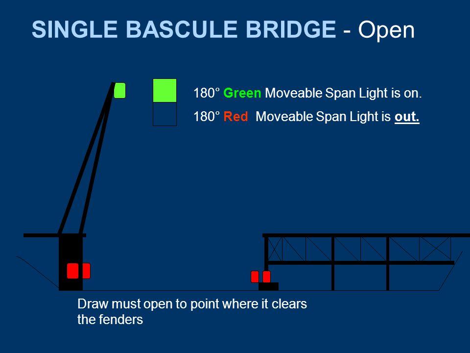 SINGLE BASCULE BRIDGE - Open 180° Green Moveable Span Light is on.