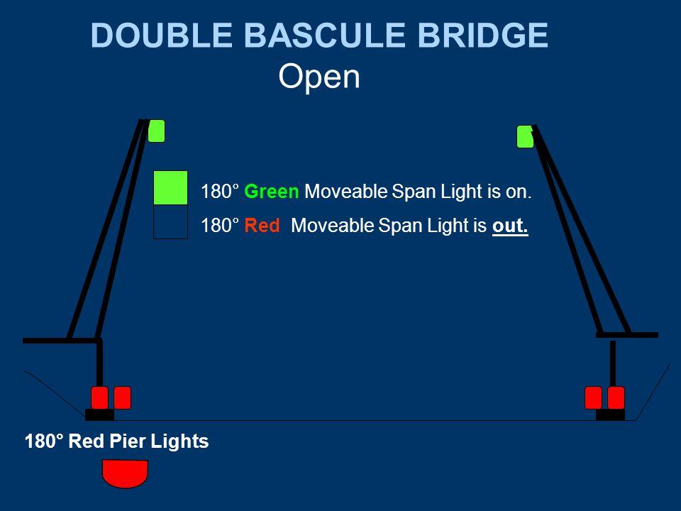 DOUBLE BASCULE BRIDGE Open 180° Red Pier Lights 180° Green Moveable Span Light is on.