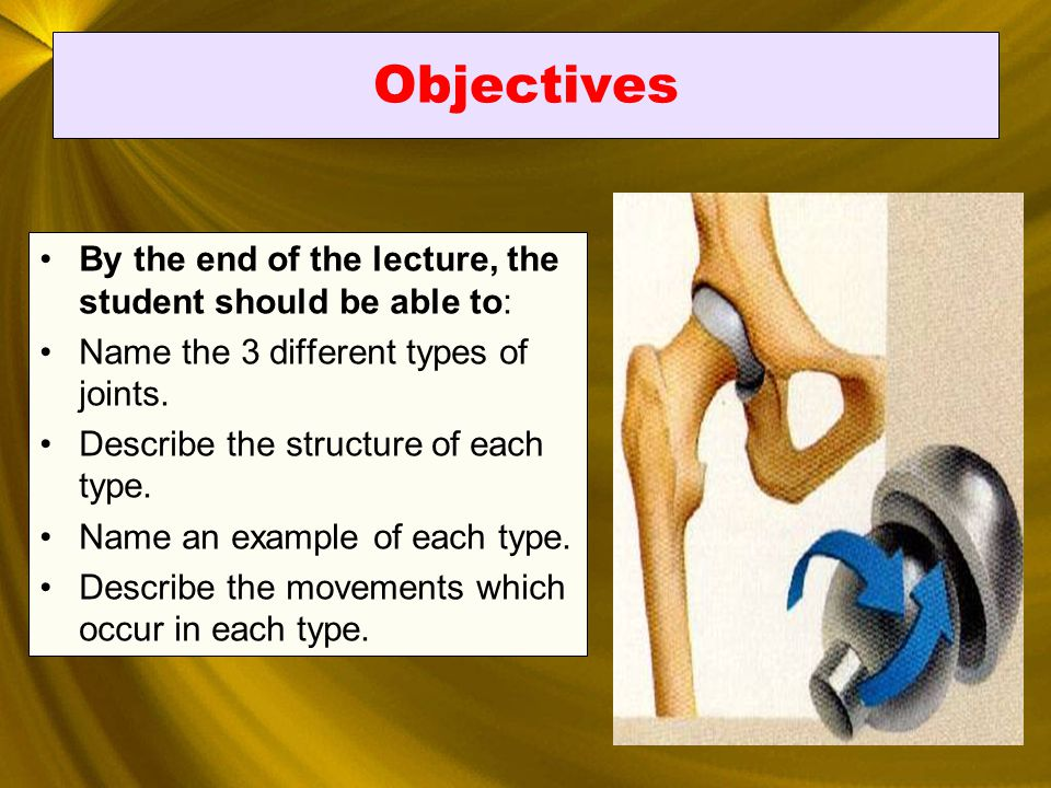 By the end of the lecture, the student should be able to: Name the 3 different types of joints.