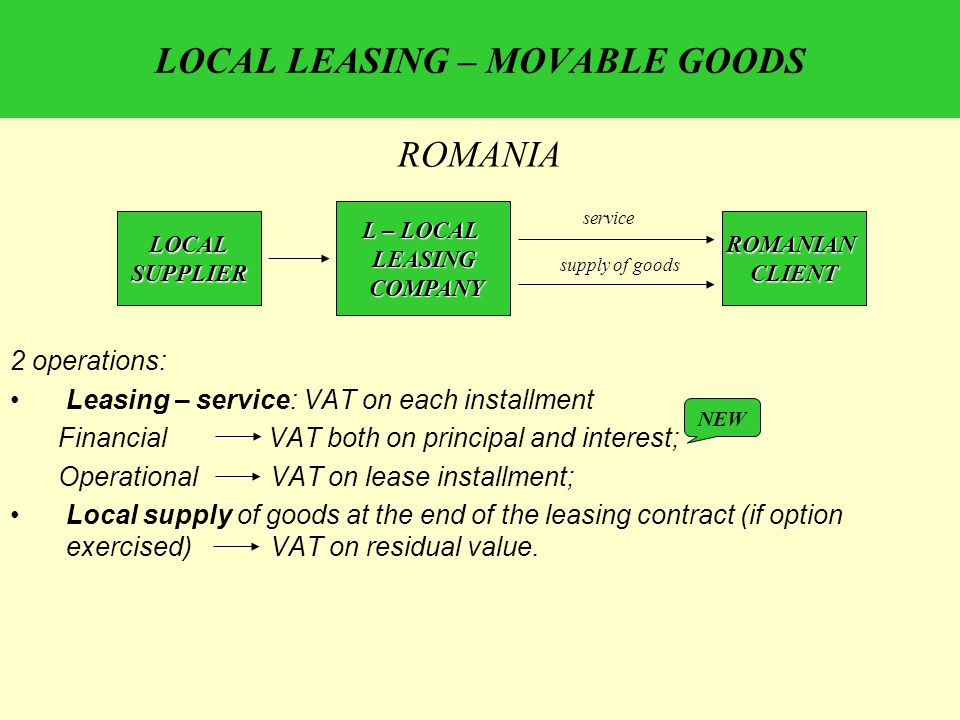 LOCAL LEASING – MOVABLE GOODS 2 operations: Leasing – service: VAT on each installment Financial VAT both on principal and interest; Operational VAT on lease installment; Local supply of goods at the end of the leasing contract (if option exercised) VAT on residual value.