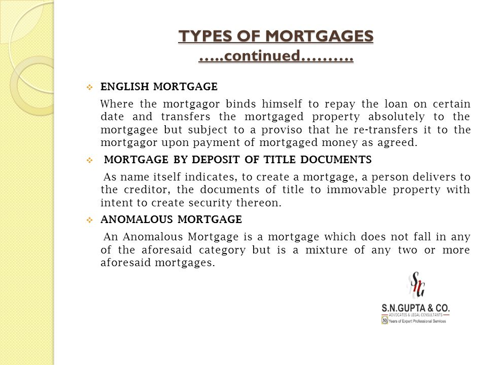 TYPES OF MORTGAGES …..continued……….  ENGLISH MORTGAGE Where the mortgagor binds himself to repay the loan on certain date and transfers the mortgaged
