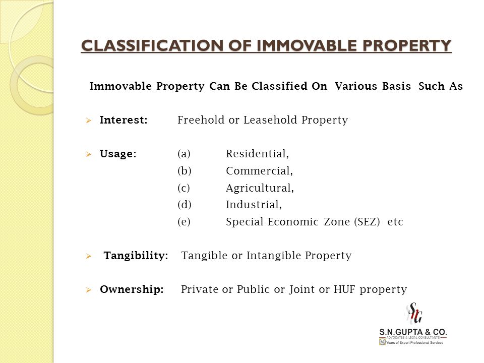 CLASSIFICATION OF IMMOVABLE PROPERTY Immovable Property Can Be Classified On Various Basis Such As  Interest: Freehold or Leasehold Property  Usage:
