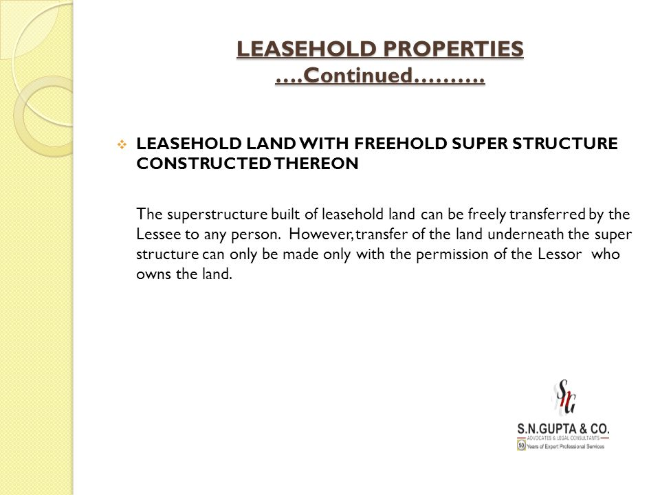 LEASEHOLD PROPERTIES ….Continued……….  LEASEHOLD LAND WITH FREEHOLD SUPER STRUCTURE CONSTRUCTED THEREON The superstructure built of leasehold land can