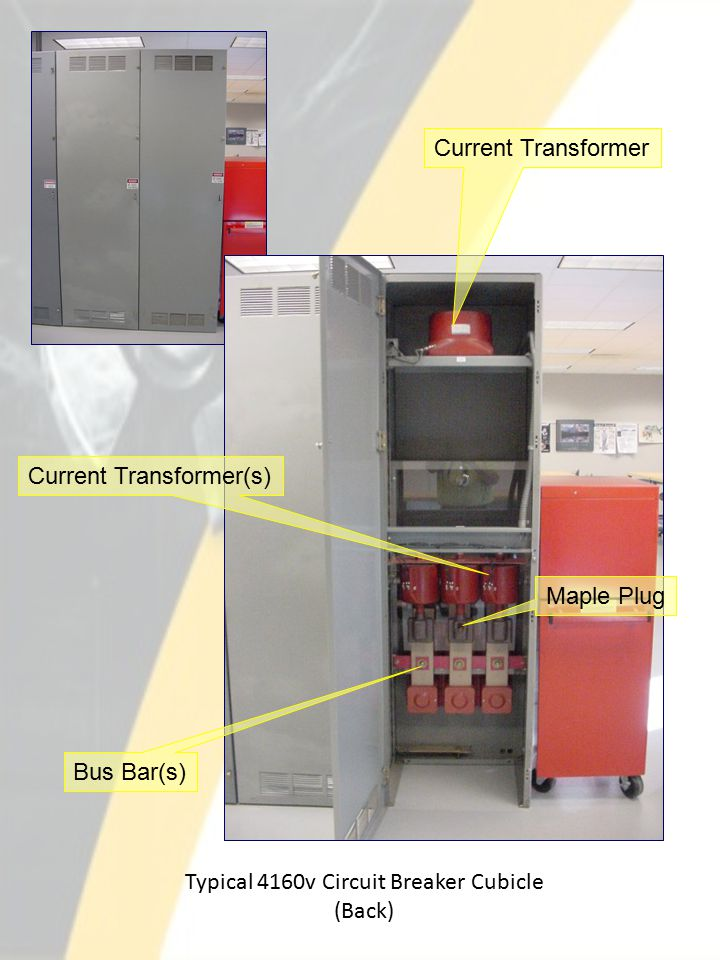 Typical 4160v Circuit Breaker Cubicle (Back) Current Transformer Current Transformer(s) Bus Bar(s) Maple Plug
