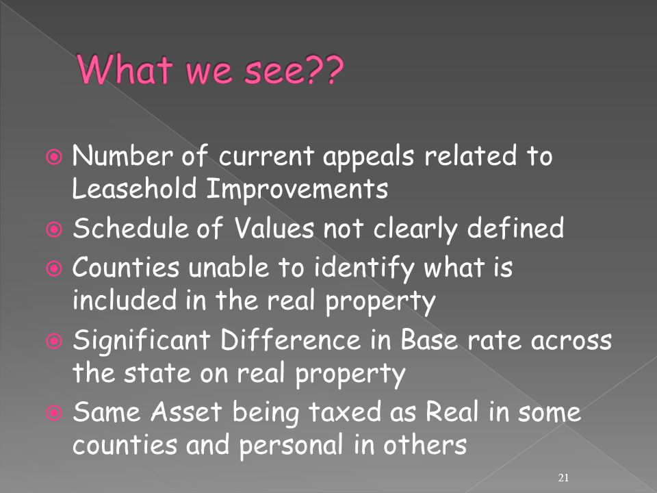 Number of current appeals related to Leasehold Improvements  Schedule of Values not clearly defined  Counties unable to identify what is included in the real property  Significant Difference in Base rate across the state on real property  Same Asset being taxed as Real in some counties and personal in others 21