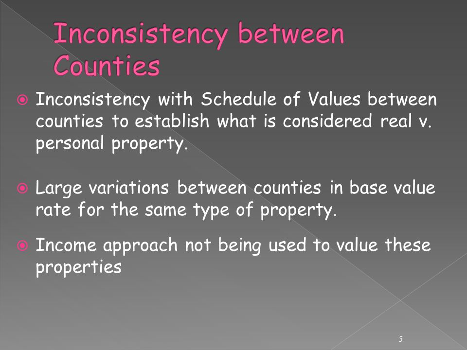  Inconsistency with Schedule of Values between counties to establish what is considered real v.