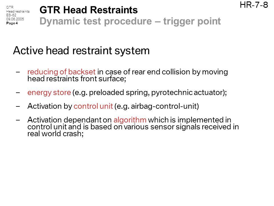 GTR Head restraints ES-62 09.06.2005 Page 4 HR-7-8 GTR Head Restraints Dynamic test procedure – trigger point Active head restraint system – reducing