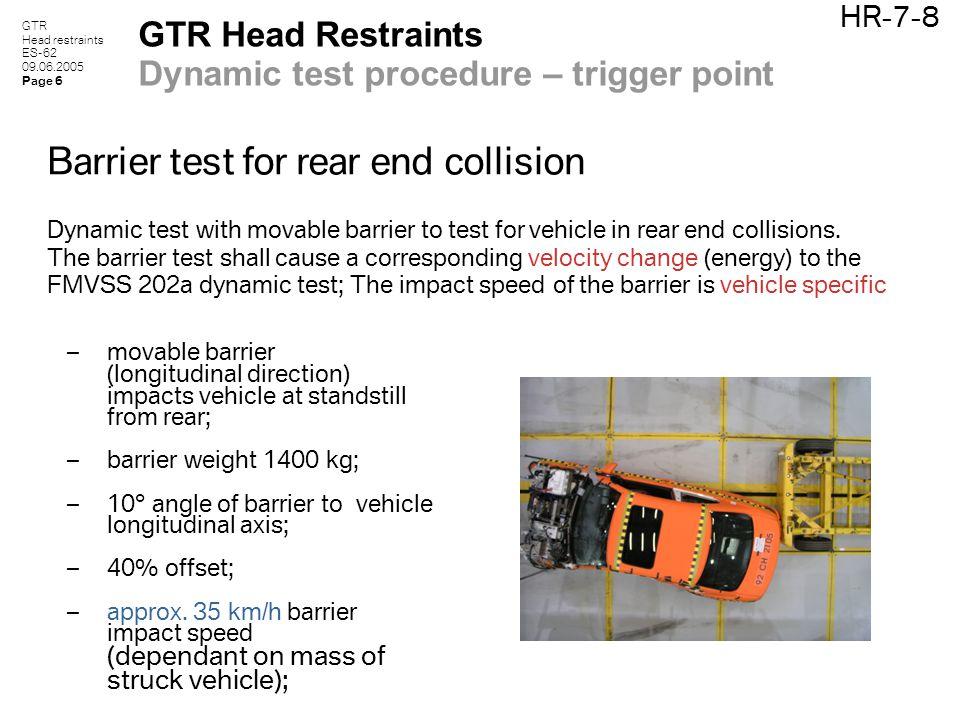 GTR Head restraints ES-62 09.06.2005 Page 6 HR-7-8 GTR Head Restraints Dynamic test procedure – trigger point Barrier test for rear end collision Dyna