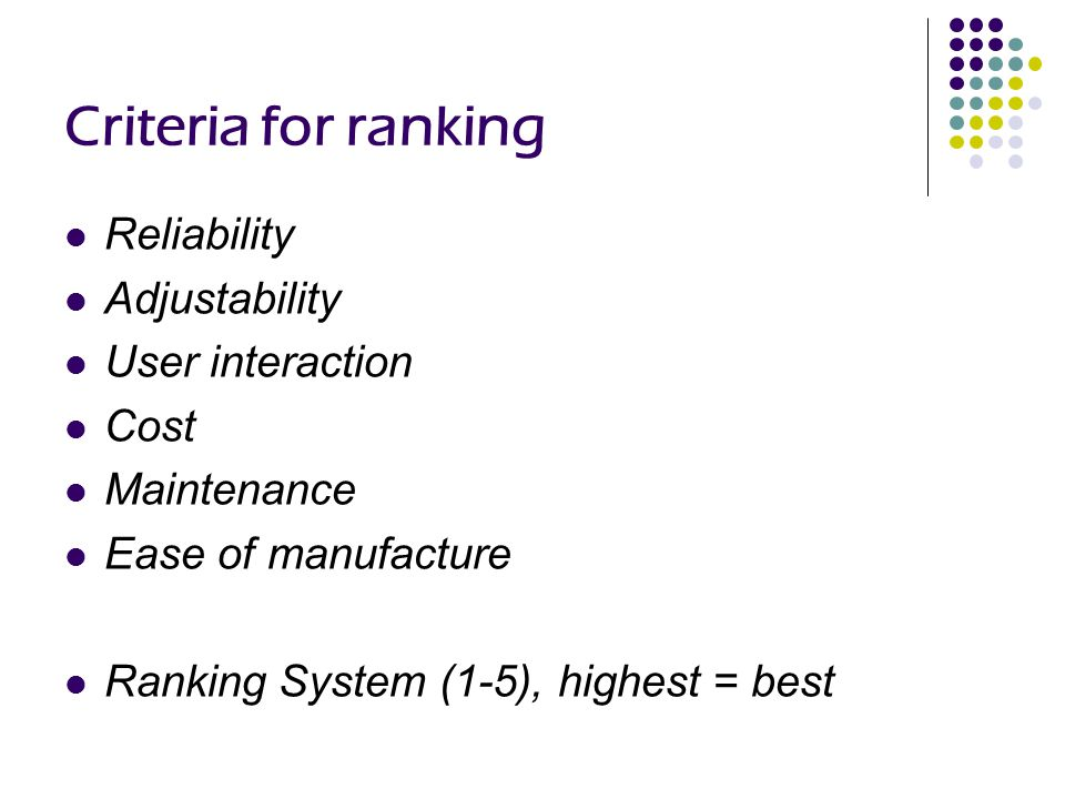 Criteria for ranking Reliability Adjustability User interaction Cost Maintenance Ease of manufacture Ranking System (1-5), highest = best
