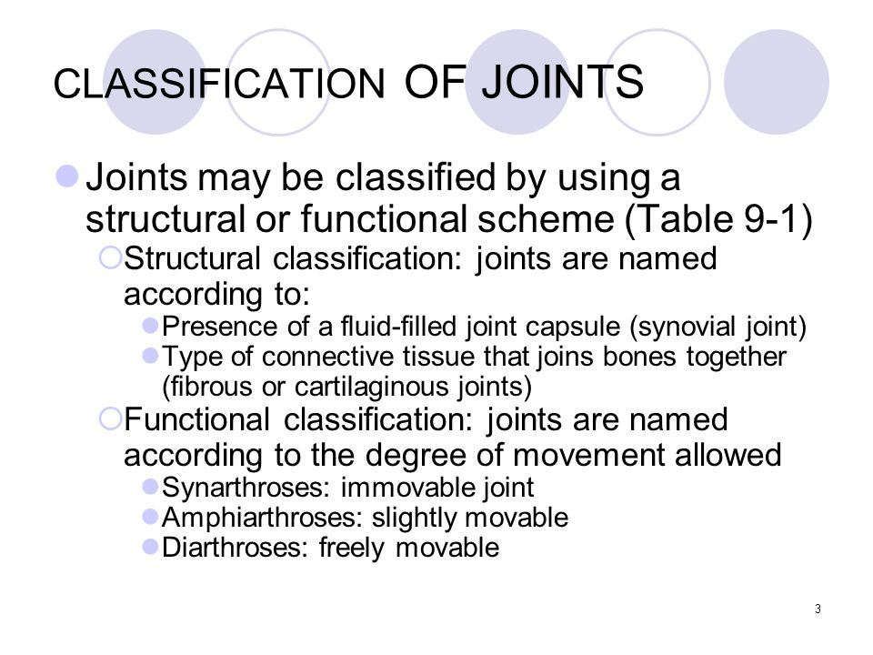 3 CLASSIFICATION OF JOINTS Joints may be classified by using a structural or functional scheme (Table 9-1)  Structural classification: joints are nam