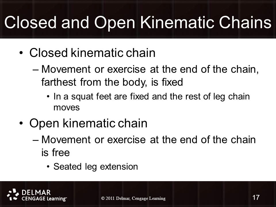 © 2010 Delmar, Cengage Learning 17 © 2011 Delmar, Cengage Learning Closed and Open Kinematic Chains Closed kinematic chain –Movement or exercise at the end of the chain, farthest from the body, is fixed In a squat feet are fixed and the rest of leg chain moves Open kinematic chain –Movement or exercise at the end of the chain is free Seated leg extension 17