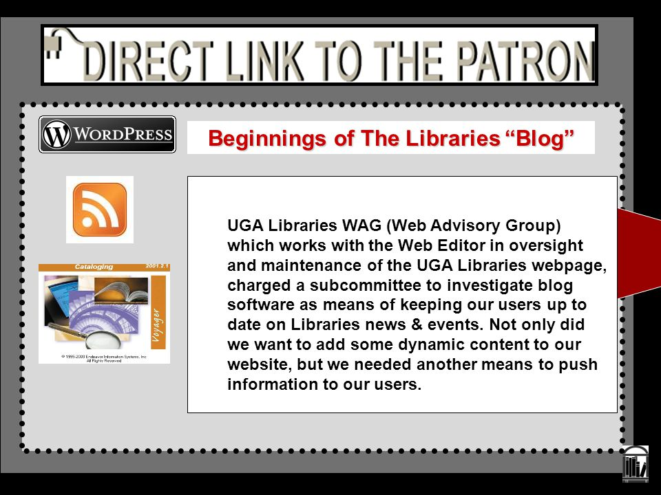 UGA Libraries WAG (Web Advisory Group) which works with the Web Editor in oversight and maintenance of the UGA Libraries webpage, charged a subcommitt
