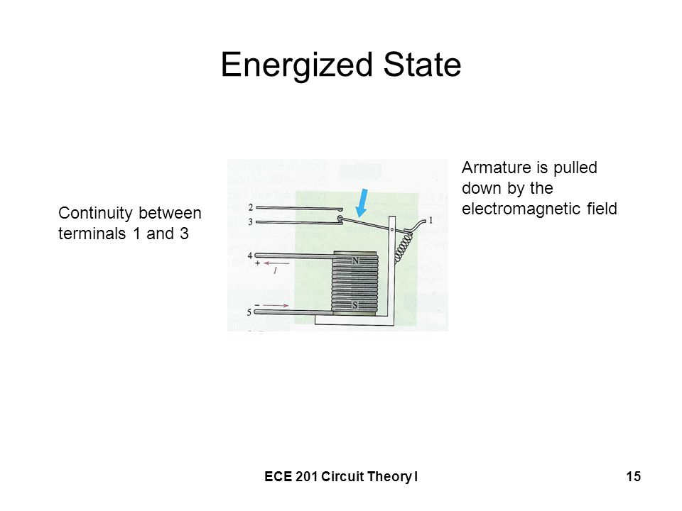 ECE 201 Circuit Theory I15 Energized State Continuity between terminals 1 and 3 Armature is pulled down by the electromagnetic field