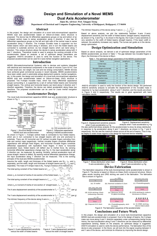 Design and Simulation of a Novel MEMS Dual Axis Accelerometer Zijun He, Advisor: Prof.