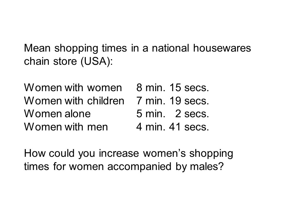 Mean shopping times in a national housewares chain store (USA): Women with women8 min.