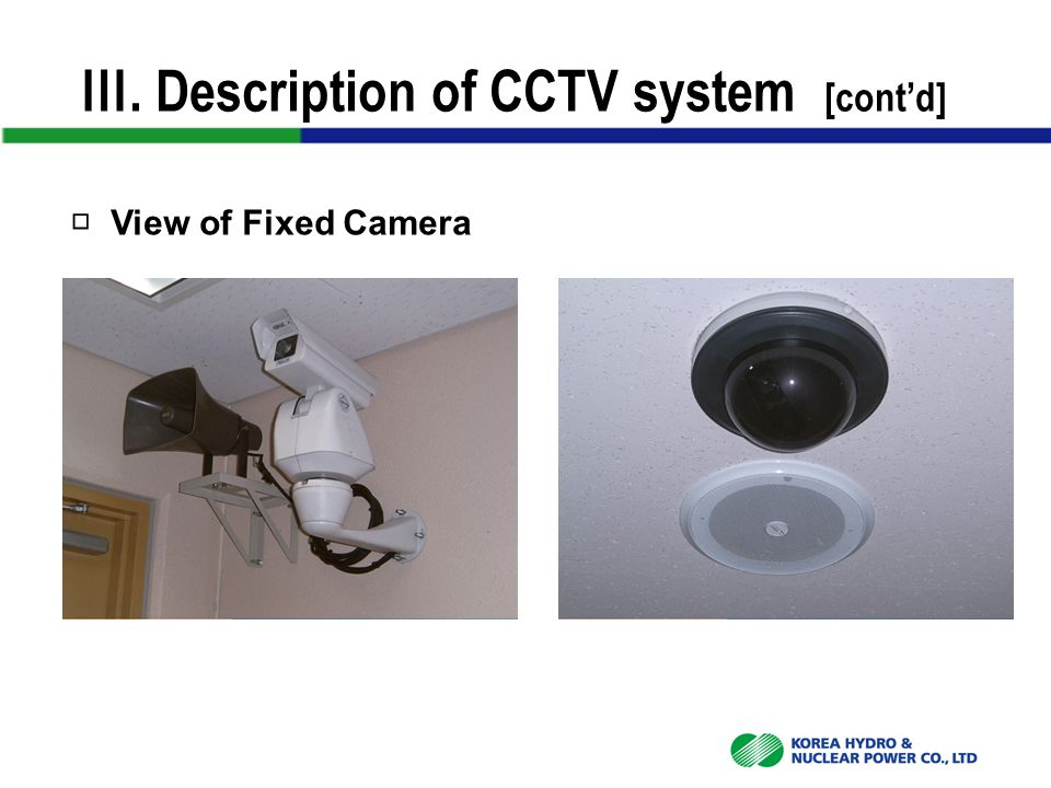 Ⅲ. Description of CCTV system [cont'd] □ View of Fixed Camera