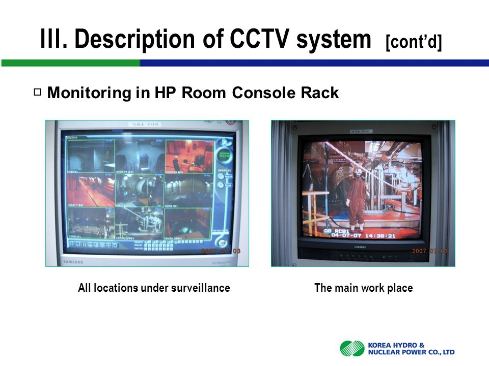 Ⅲ. Description of CCTV system [cont'd] □ Monitoring in HP Room Console Rack All locations under surveillanceThe main work place
