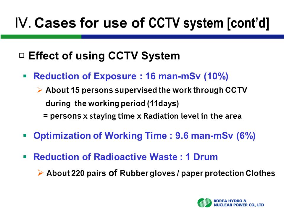 Ⅳ. Cases for use of CCTV system [cont'd] □ Effect of using CCTV System  Reduction of Exposure : 16 man-mSv (10%)  About 15 persons supervised the wo