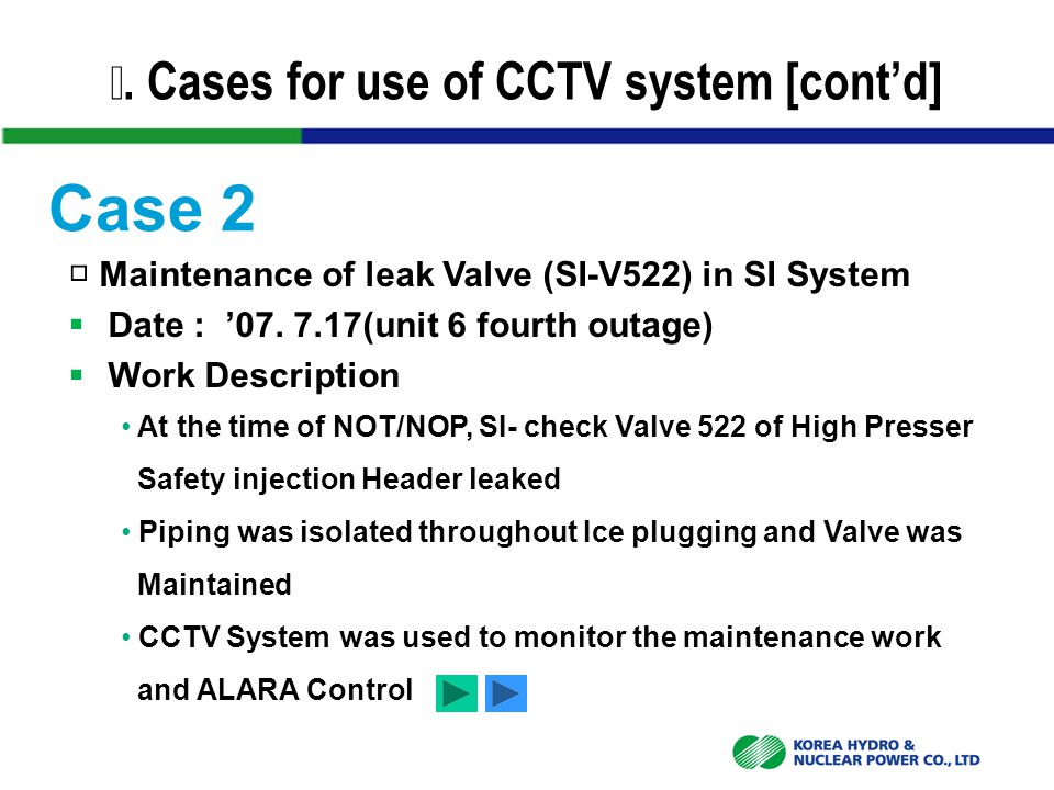 Ⅳ. Cases for use of CCTV system [cont'd] □ Maintenance of leak Valve (SI-V522) in SI System  Date : '07. 7.17(unit 6 fourth outage)  Work Descriptio