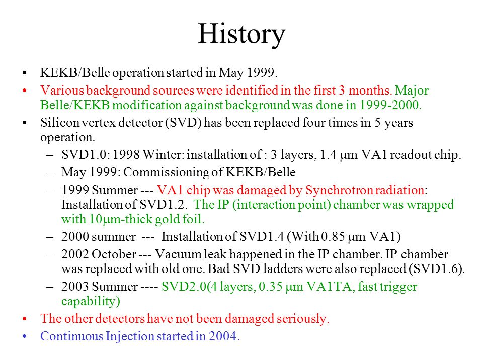 History KEKB/Belle operation started in May 1999.