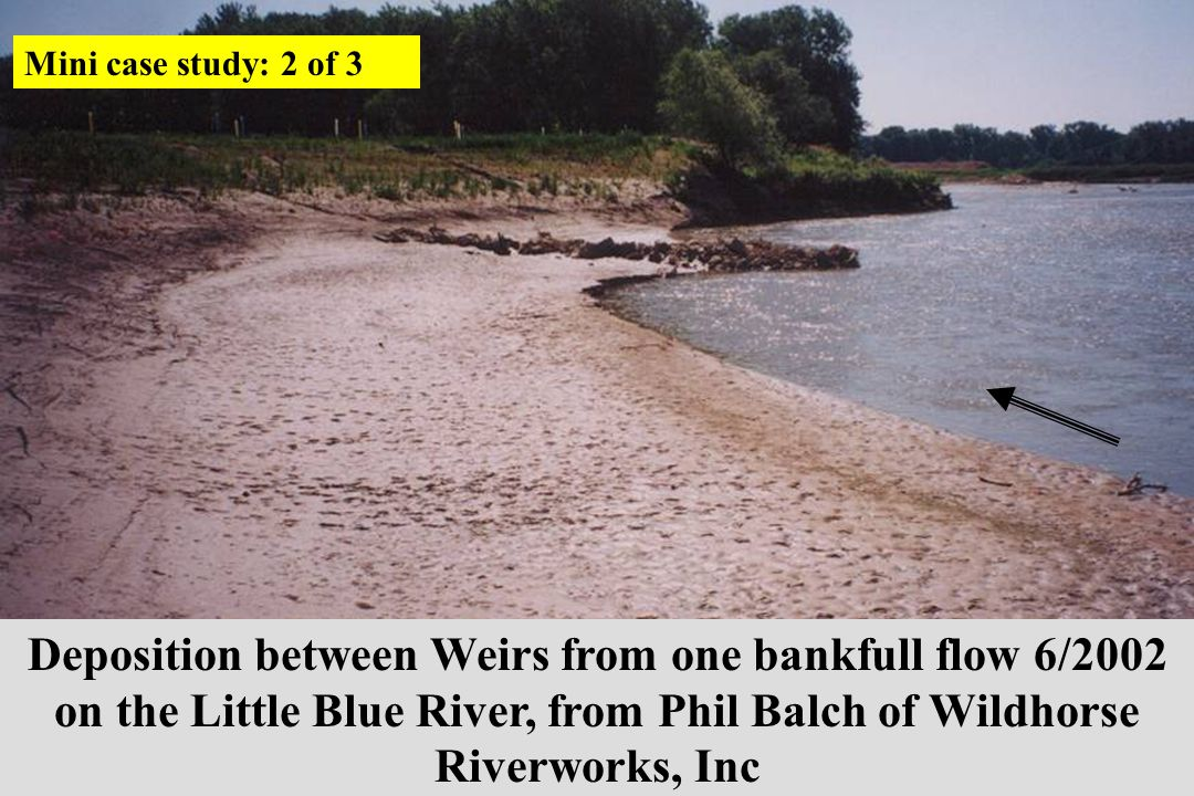 Deposition between Weirs from one bankfull flow 6/2002 on the Little Blue River, from Phil Balch of Wildhorse Riverworks, Inc Mini case study: 2 of 3