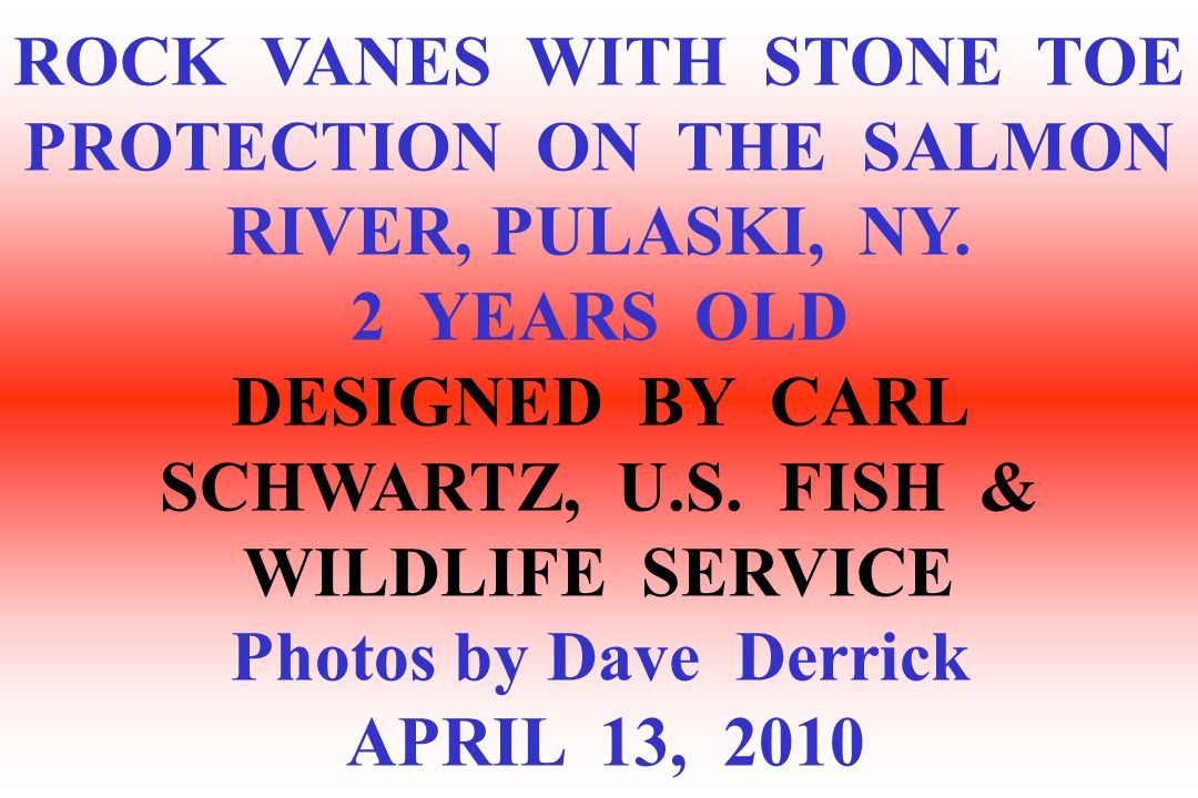 ROCK VANES WITH STONE TOE PROTECTION ON THE SALMON RIVER, PULASKI, NY.