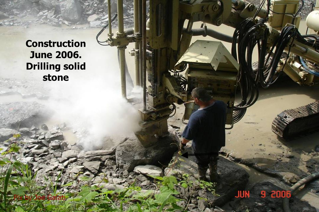 Construction June 2006. Drilling solid stone Pix by Joe Galati
