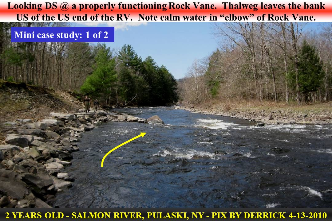 Looking DS @ a properly functioning Rock Vane. Thalweg leaves the bank US of the US end of the RV.